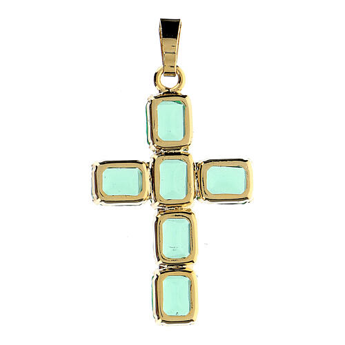 Cross pendant in golden brass with green crystals 3