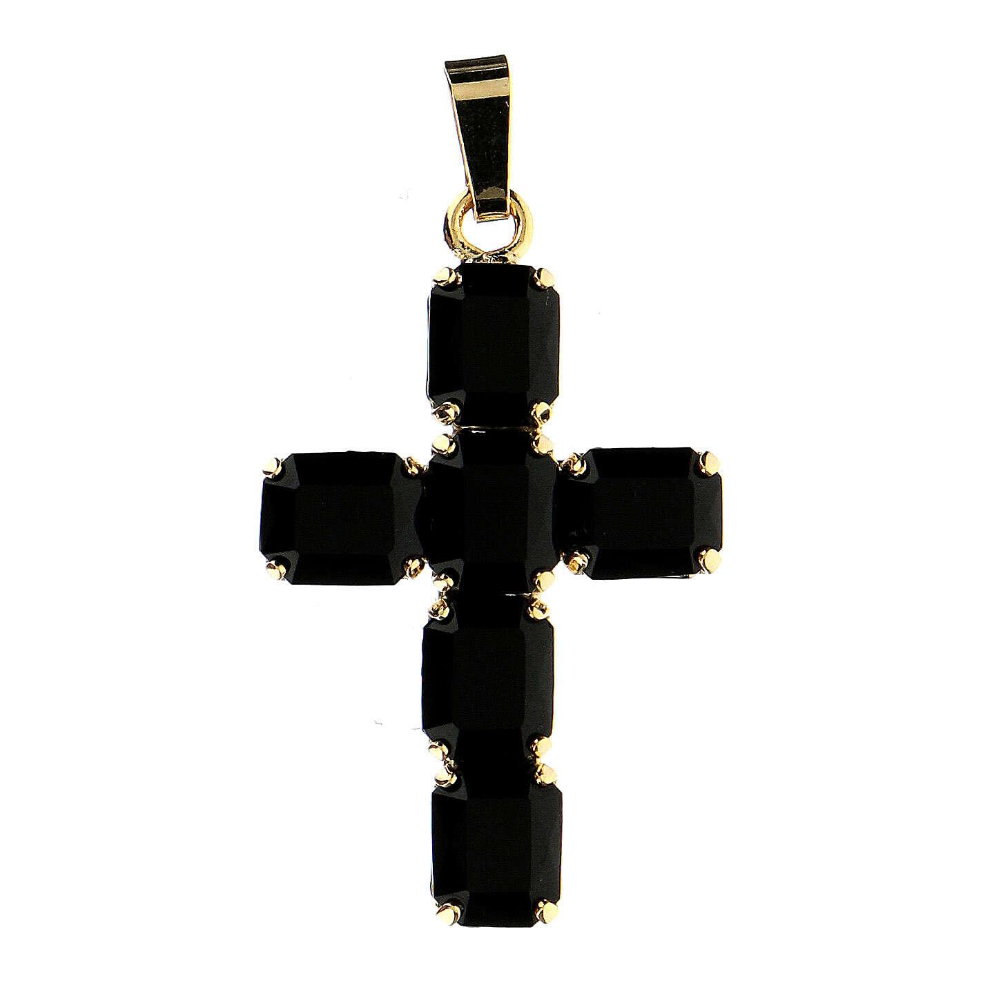 Cruz colgante cristal negro engastado 4