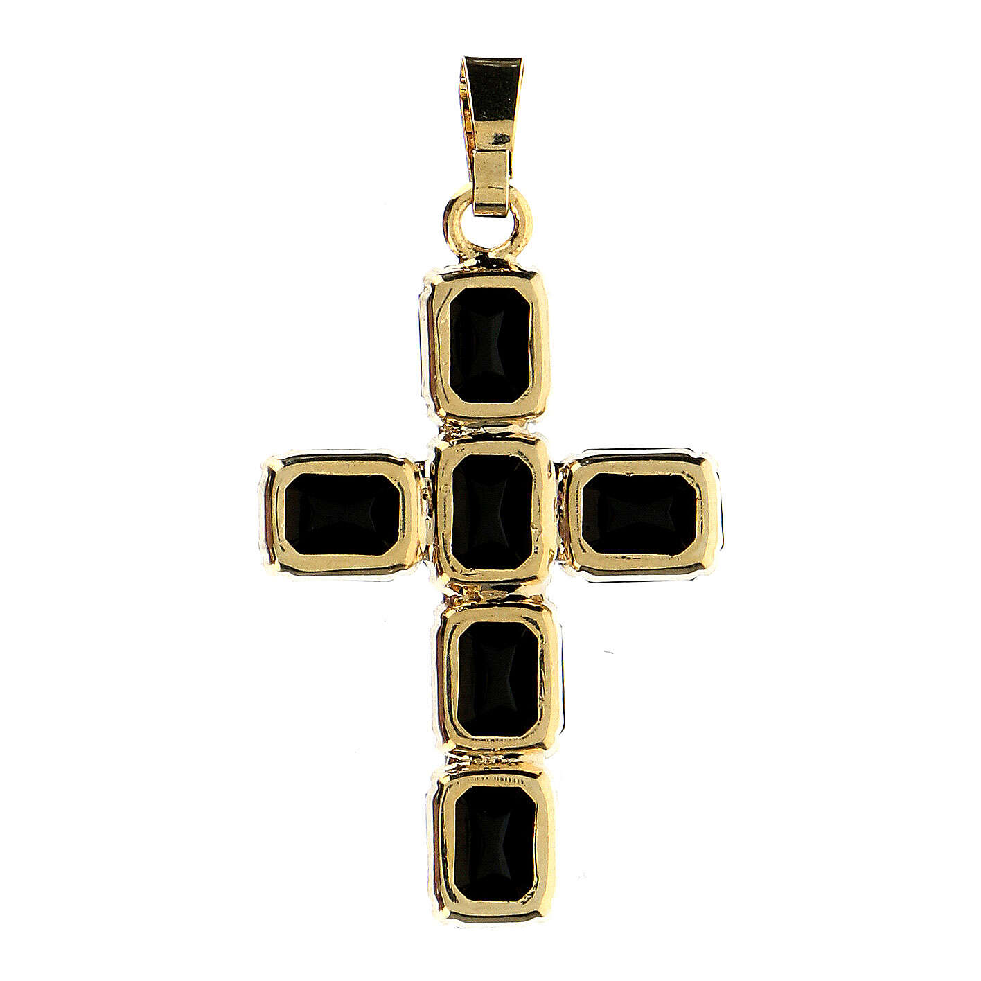 Croix pendentif cristal noir serti 4