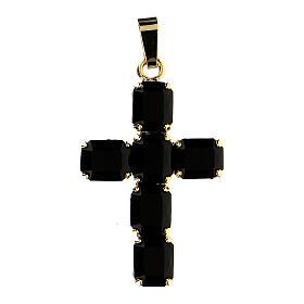 Croix pendentif cristal noir serti s1