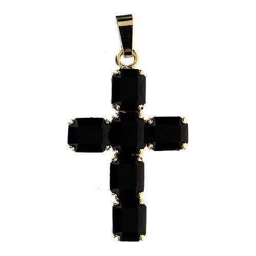 Croix pendentif cristal noir serti 1