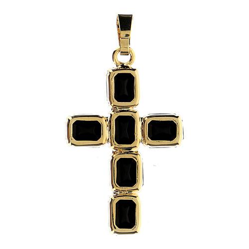 Croix pendentif cristal noir serti 3