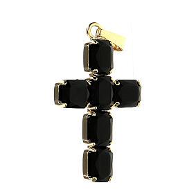 Croce pendente cristallo nero incastonato s2
