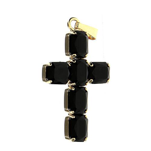 Croce pendente cristallo nero incastonato 2