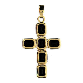 Cross pendant with mounted black crystals s3