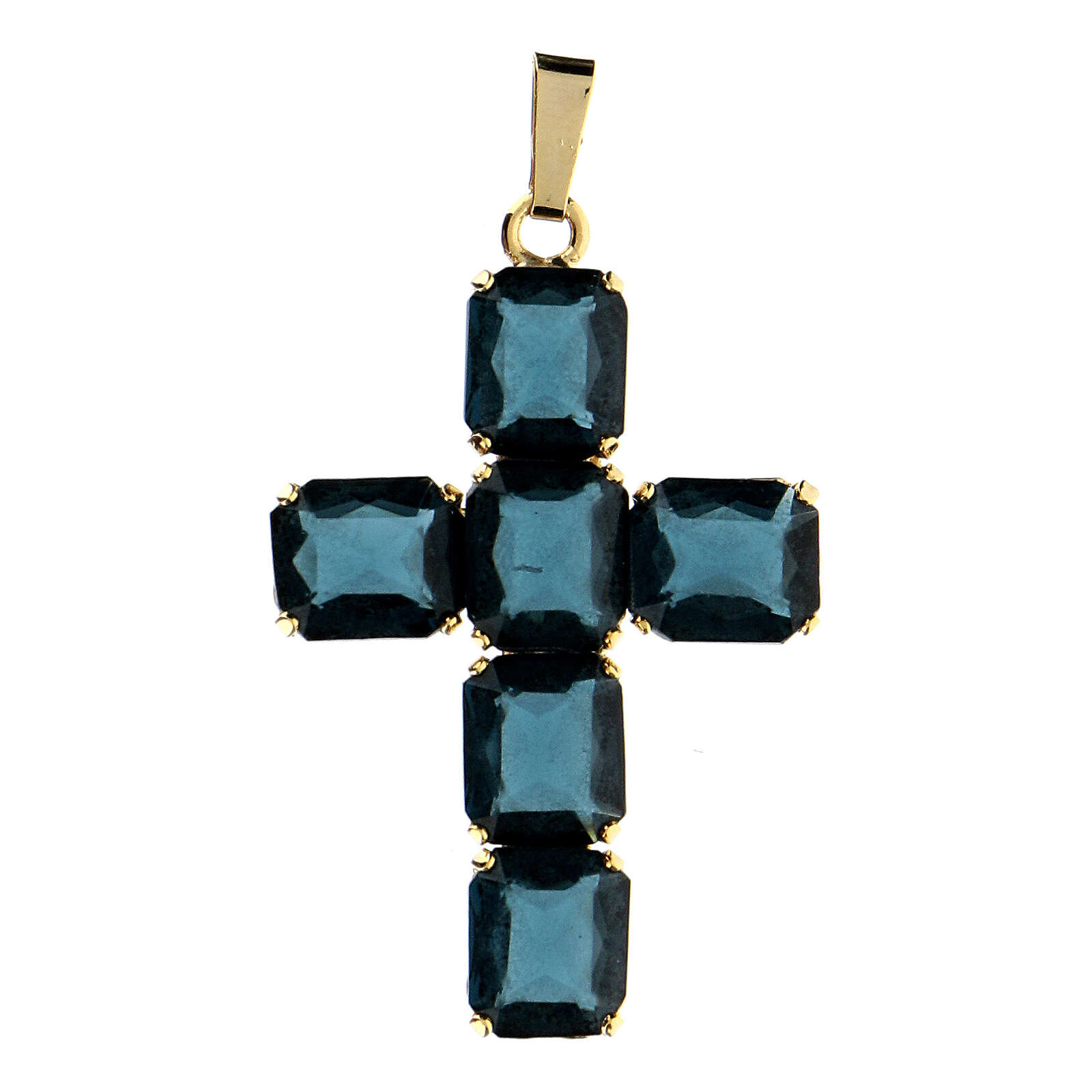 Pendant cross set blue crystal 4