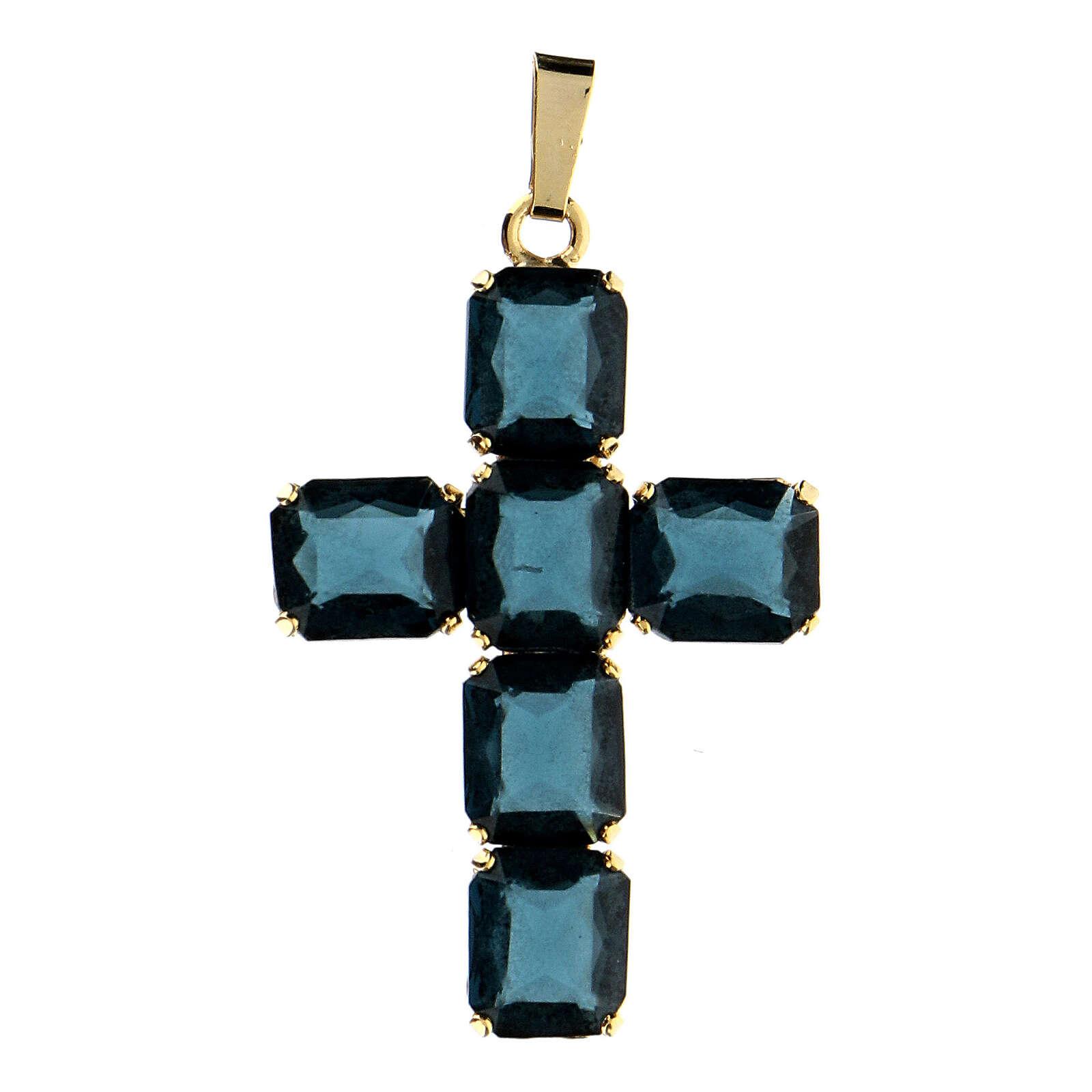 Croix pendentif pierres cristal bleu 4