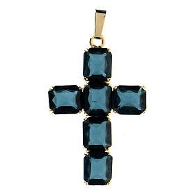 Croix pendentif pierres cristal bleu s1