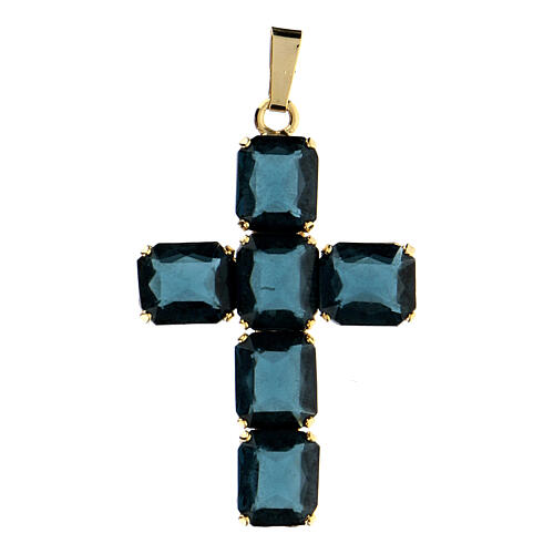 Croix pendentif pierres cristal bleu 1