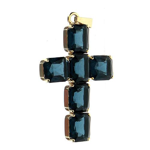 Croix pendentif pierres cristal bleu 2
