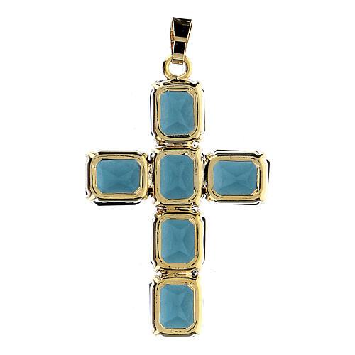 Croix pendentif pierres cristal bleu 3