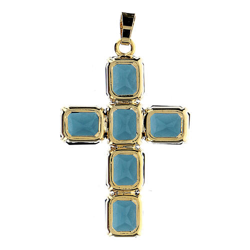 Croce pendente pietre cristallo blu 3