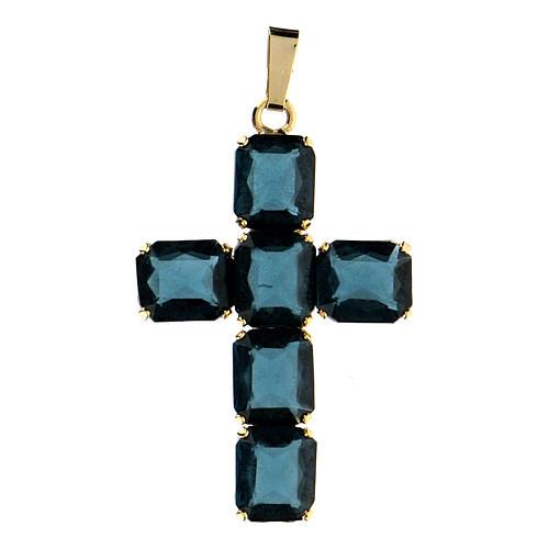 Krzyżyk zawieszka kamienie kryształ niebieski 1