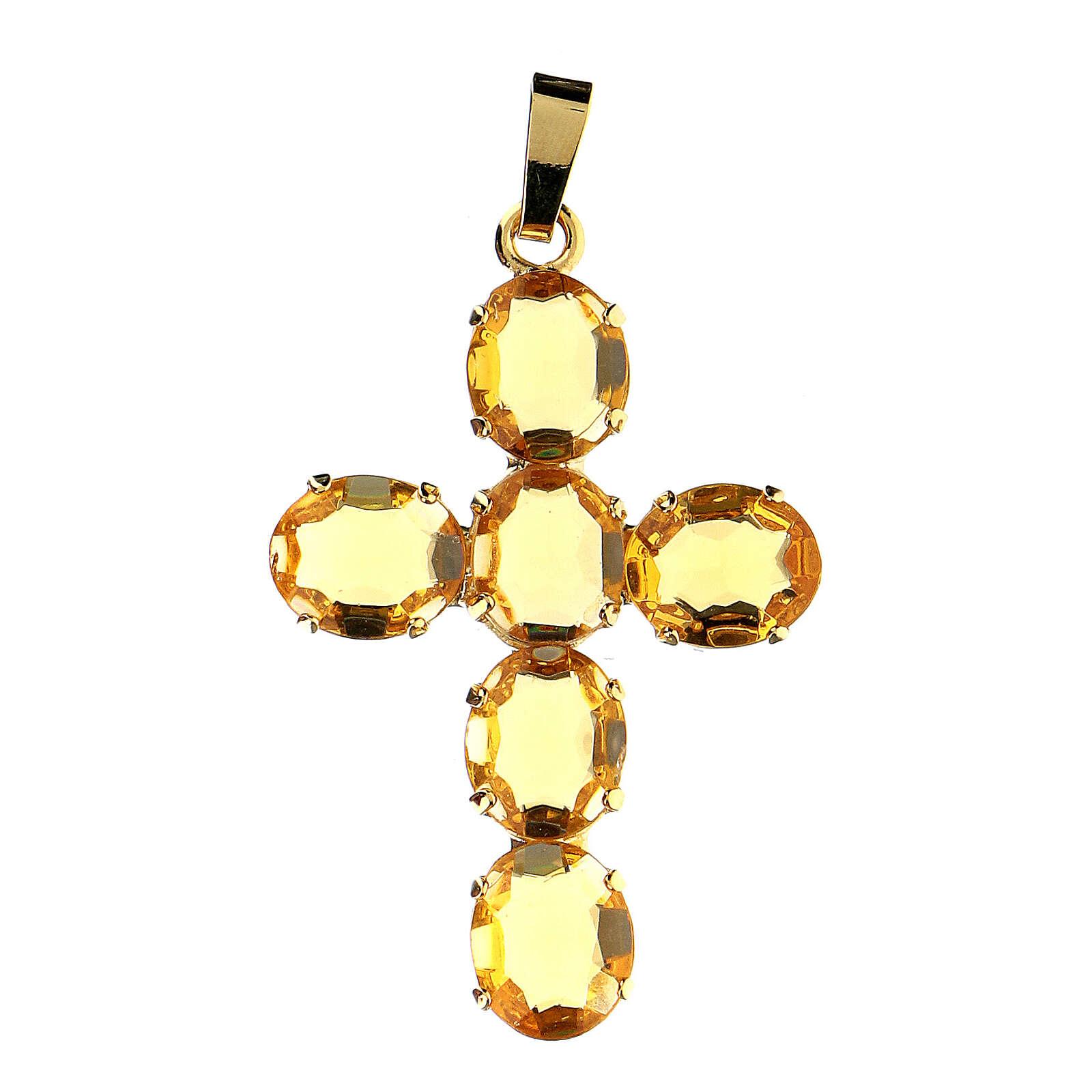 Pingente cruz latão dourado com cristais ovalados amarelos 4