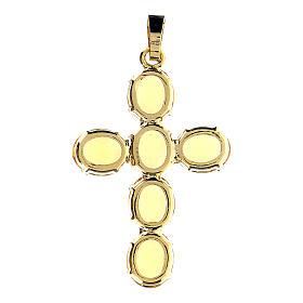 Pingente cruz latão dourado com cristais ovalados amarelos s3