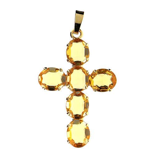 Pingente cruz latão dourado com cristais ovalados amarelos 1