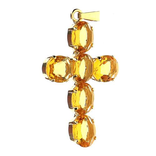 Pingente cruz latão dourado com cristais ovalados amarelos 2
