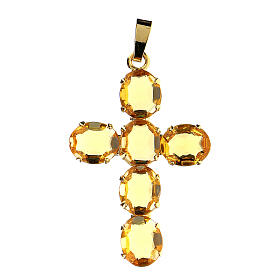 Cross pendent with oval yellow crystals s1