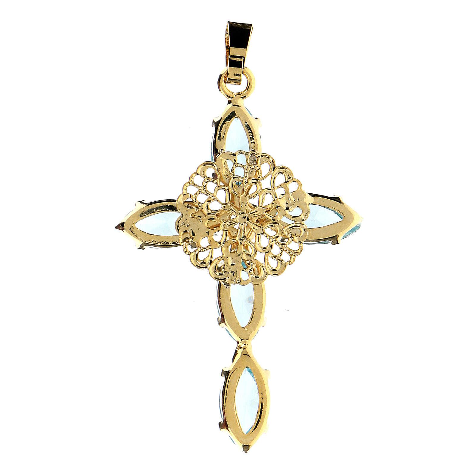 Aquamarine crystal cross pendant 4