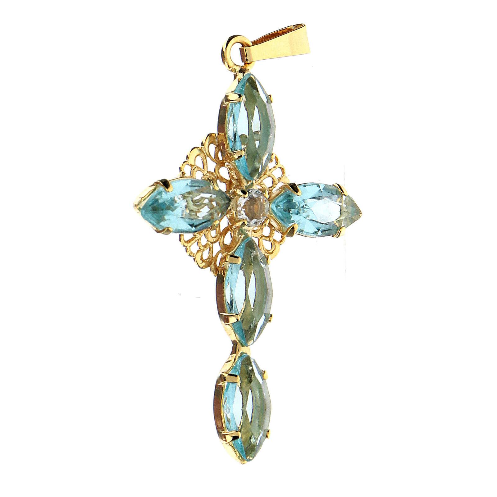 Pendente croce cristallo acqua marina 4
