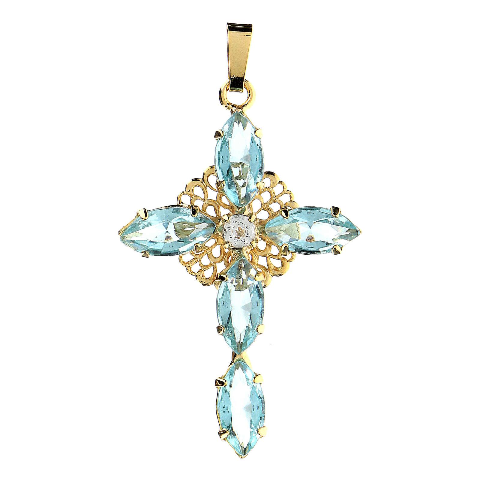 Pingente cruz cristal água-marinha 4
