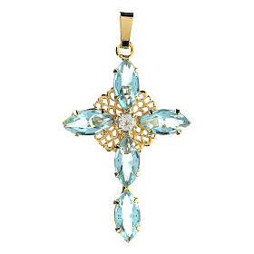 Pingente cruz cristal água-marinha s1