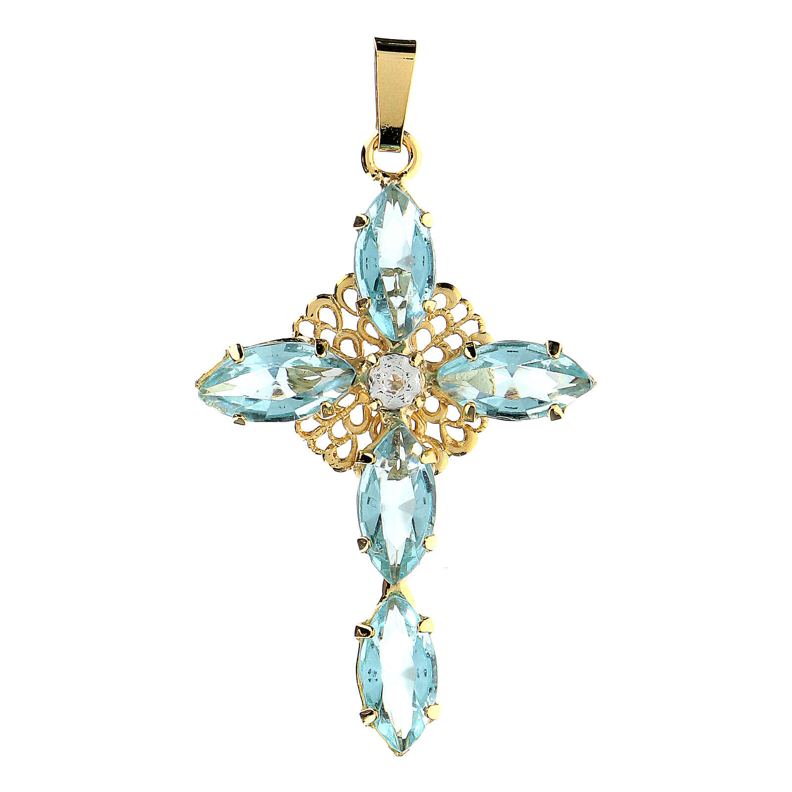 Cross pendent with aquamarine crystals 4