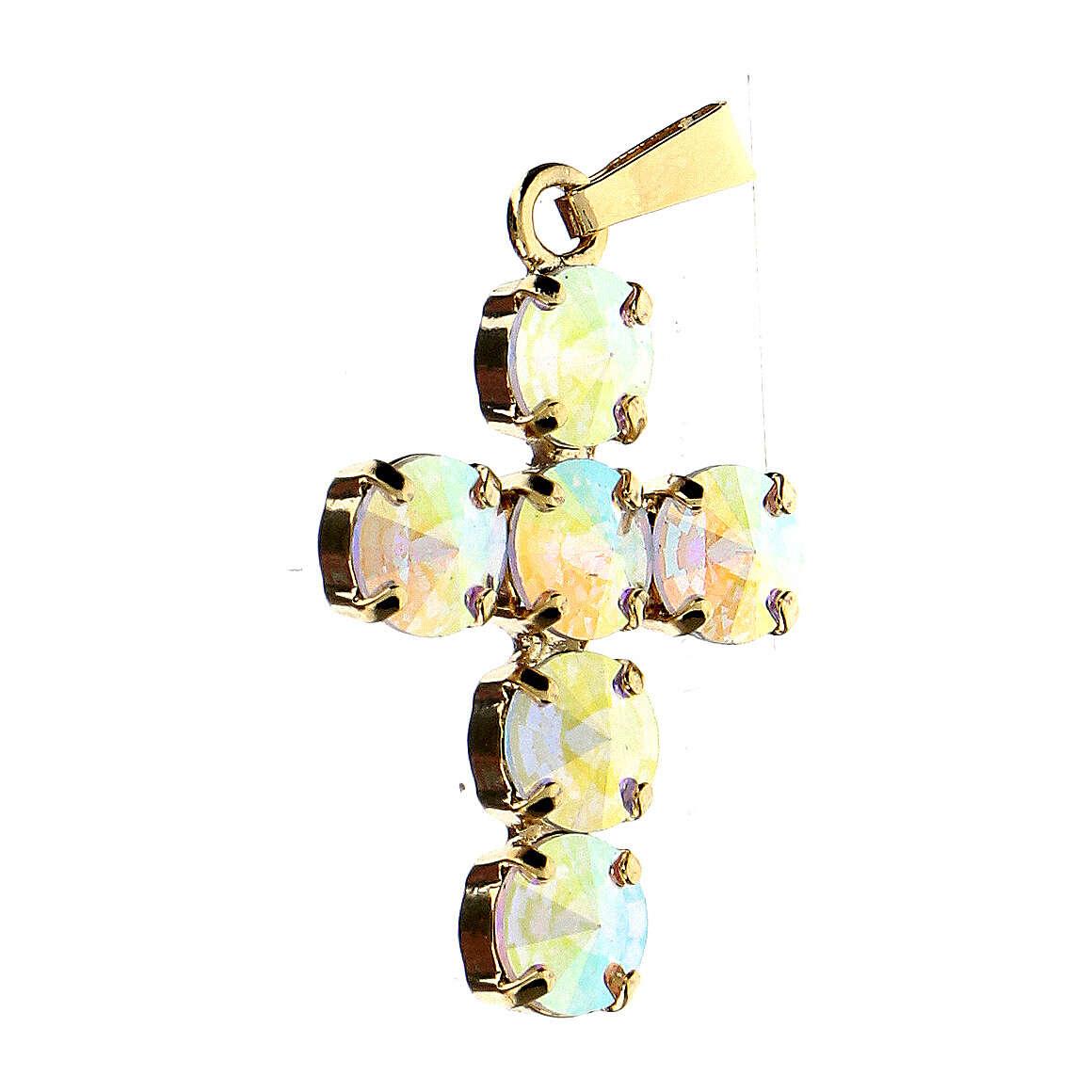 Croce castone tondo cristallo aurora boreale 4