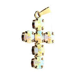 Croce castone tondo cristallo aurora boreale s2