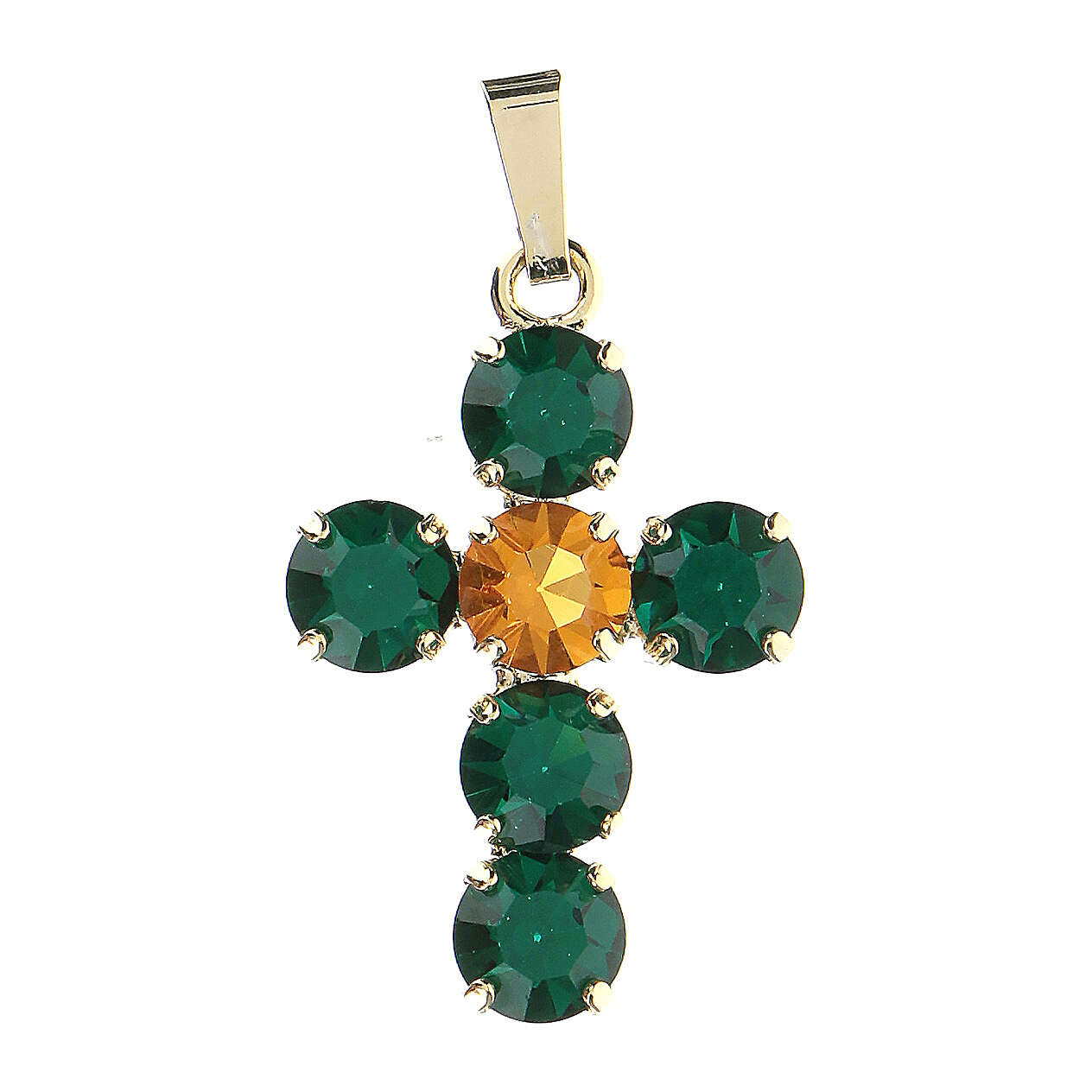 Cross pendant set round crystals 4