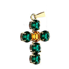 Cross pendant set round crystals s2