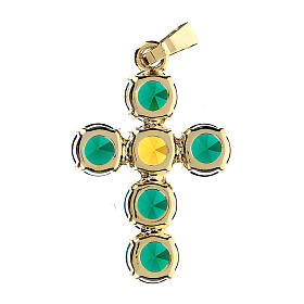 Cross pendant set round crystals s3