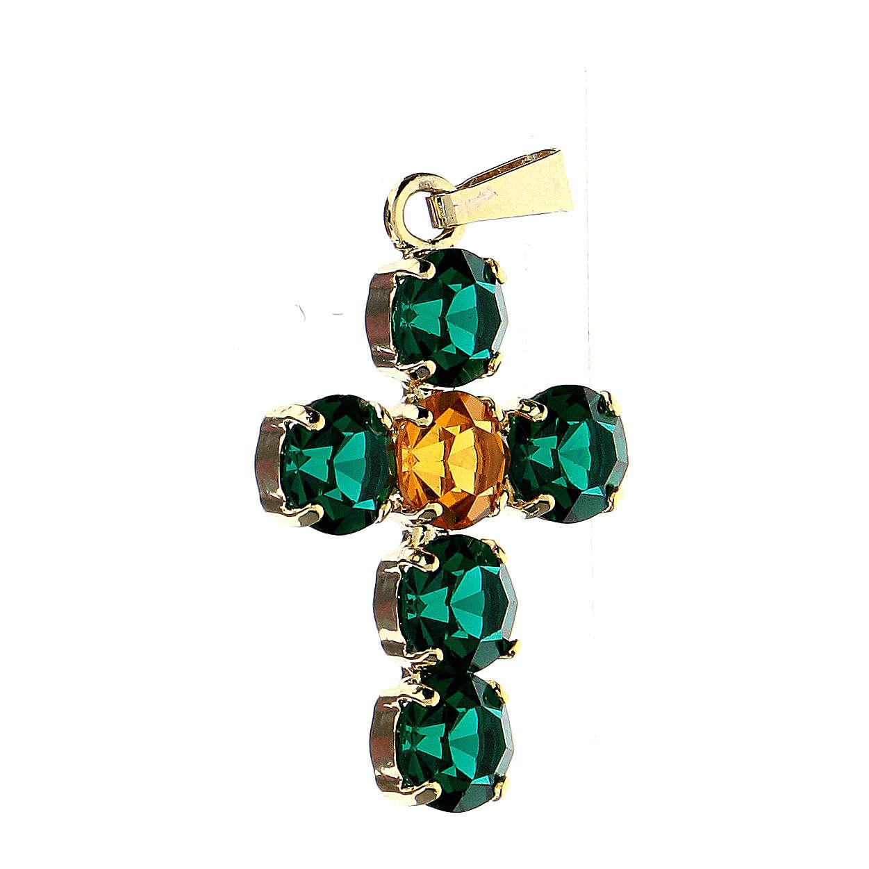 Pendente croce cristalli tondi incastonati 4