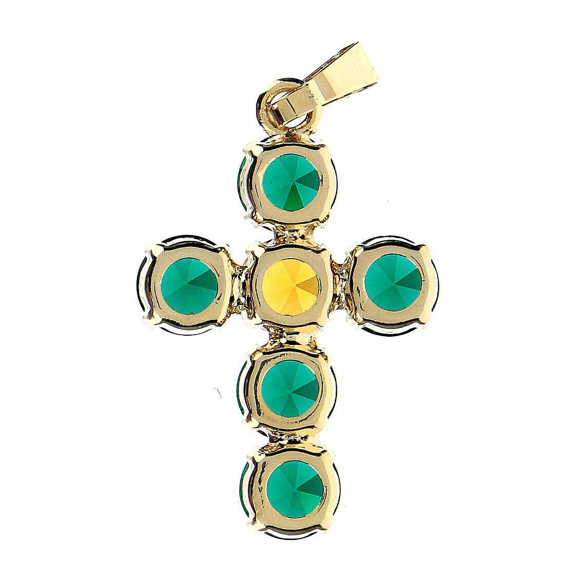 Pingente cruz cristais verde e amarelo embutidos 4