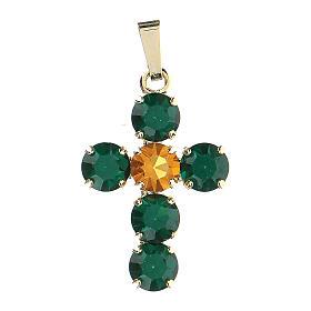 Pingente cruz cristais verde e amarelo embutidos s1