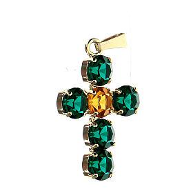 Pingente cruz cristais verde e amarelo embutidos s2