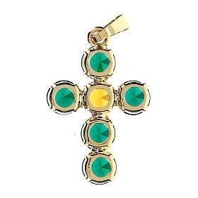 Pingente cruz cristais verde e amarelo embutidos s3