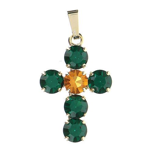 Pingente cruz cristais verde e amarelo embutidos 1