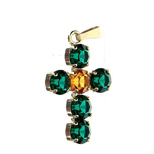 Pingente cruz cristais verde e amarelo embutidos 2