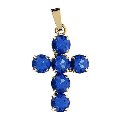 Cross pendant set round blue crystals 1