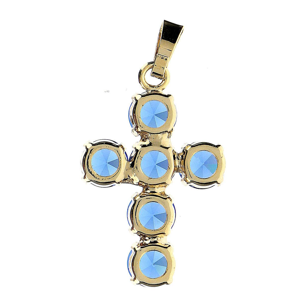 Croce pendente cristalli tondi blu incastonati 4