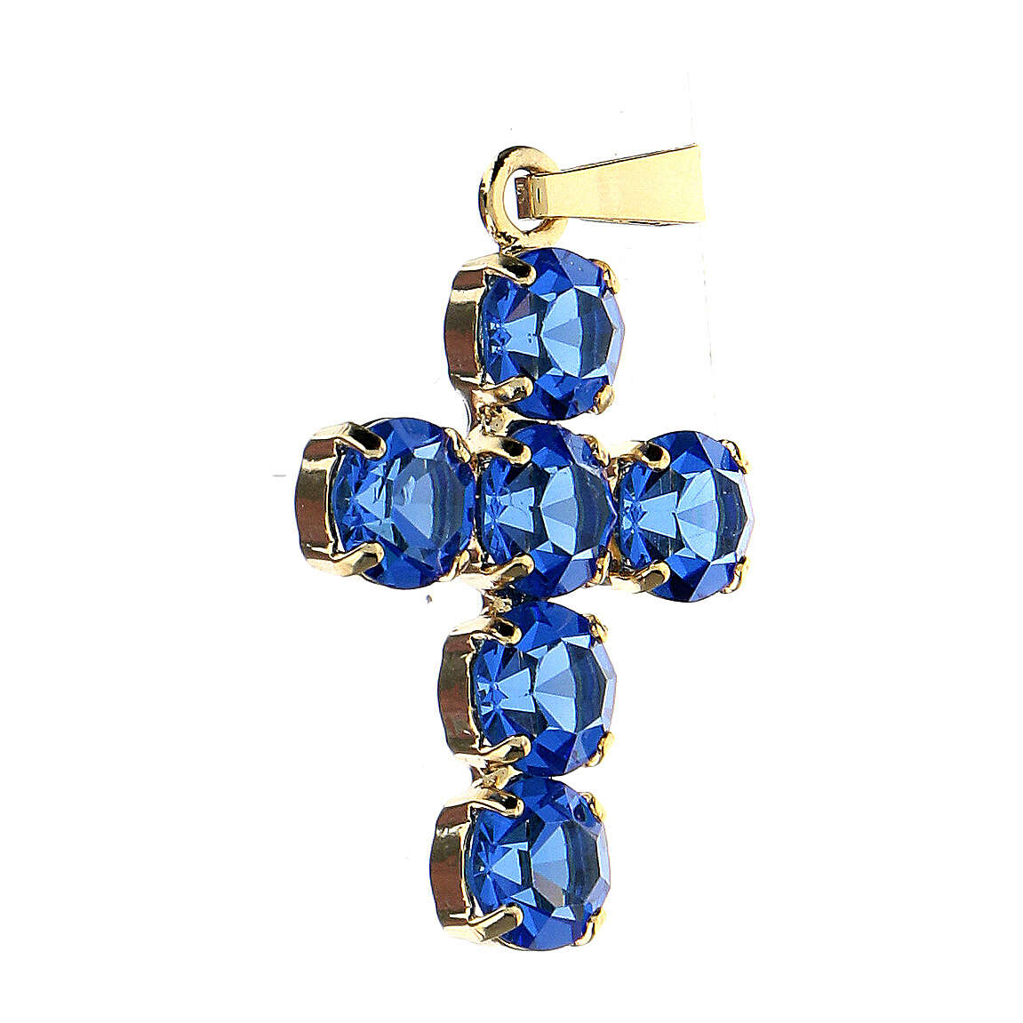 Krzyżyk zawieszka kryształy okrągłe niebieskie obsadzone 4