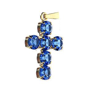 Krzyżyk zawieszka kryształy okrągłe niebieskie obsadzone s2