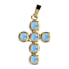 Krzyżyk zawieszka kryształy okrągłe niebieskie obsadzone s3