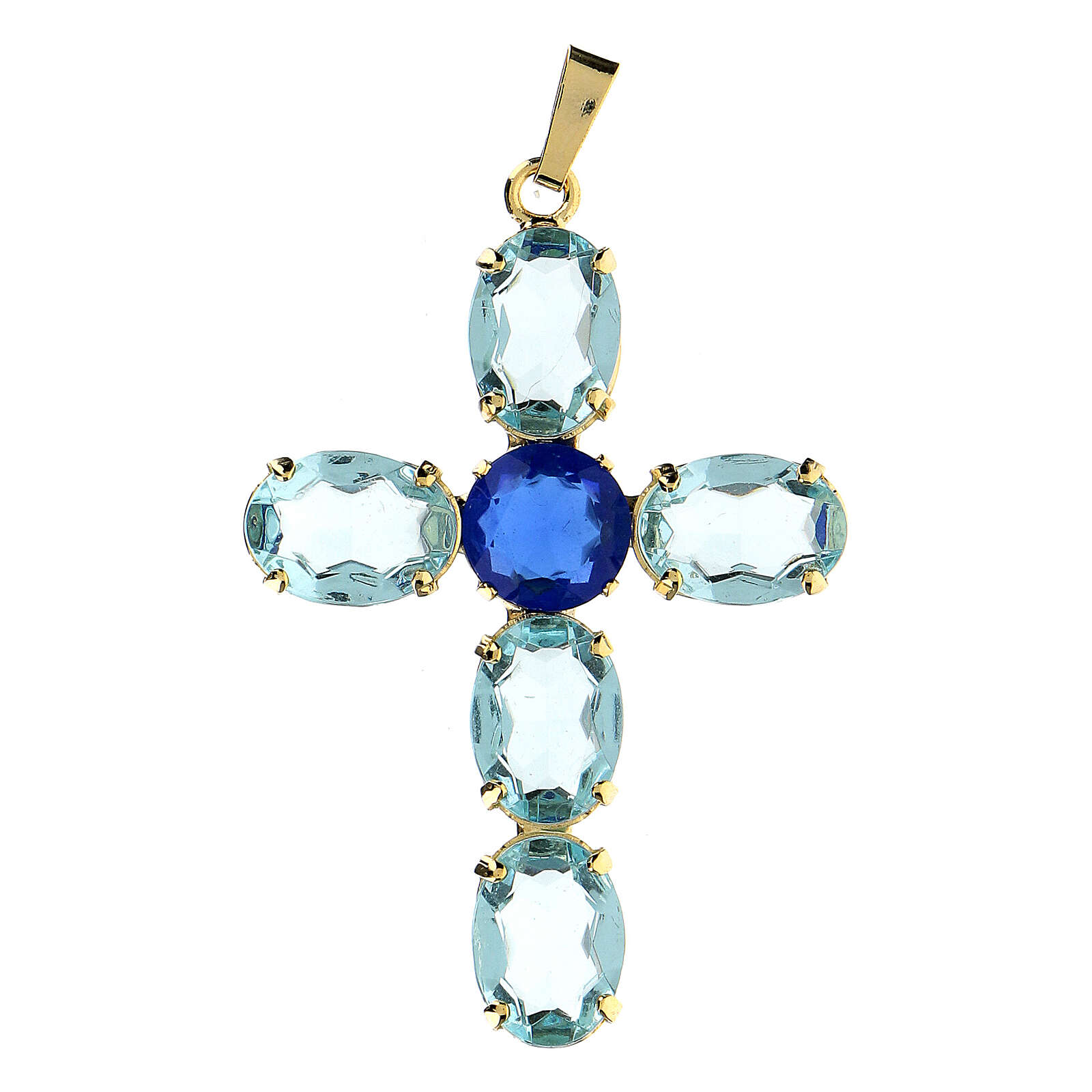 Oval turquoise crystal cross pendant 4