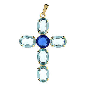 Oval turquoise crystal cross pendant s1