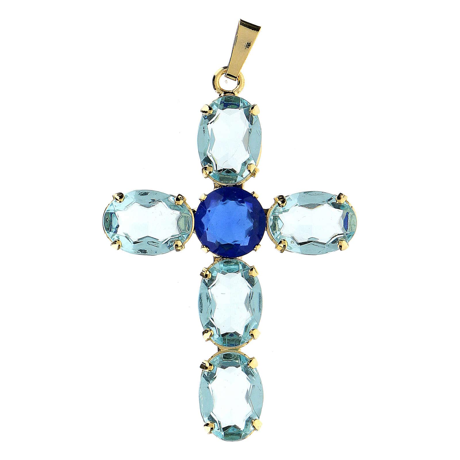 Colgante cruz cristal turquesa ovalada 4