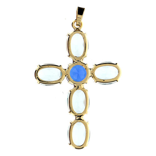Colgante cruz cristal turquesa ovalada 3