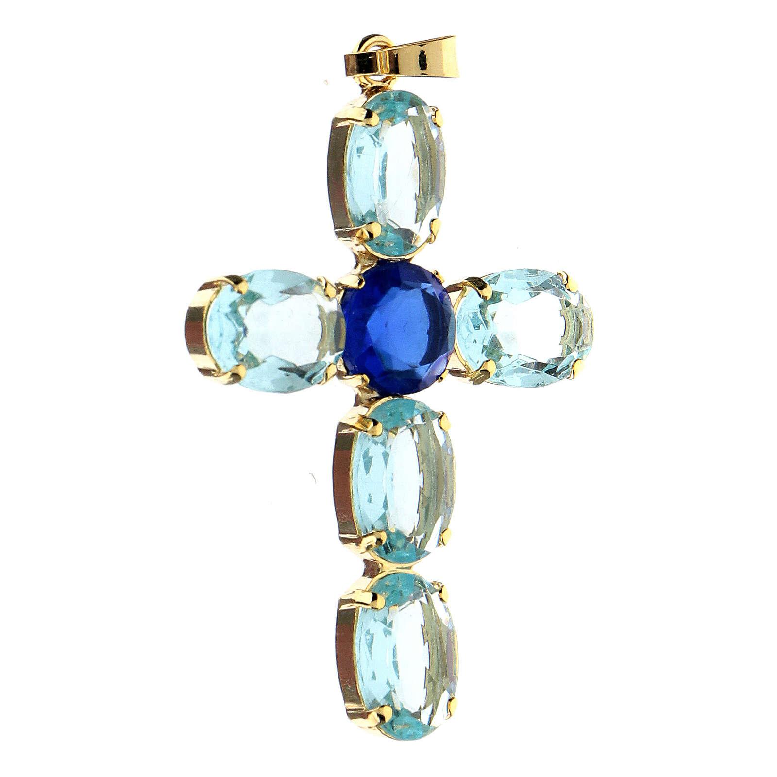 Pendentif croix cristal turquoise ovale 4