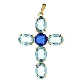Pendentif croix cristal turquoise ovale s1